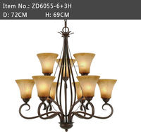 classical 9 lights tea stained glass shade with rustic finish chandelier