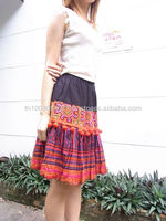 Hand Embroidered Hill Tribe Skirt With Pom Poms