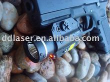 Tactical red laser and light illumination for hand gun use