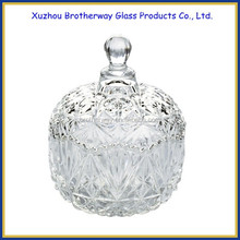 fancy decorative glass round bowls candy jar with glass lids