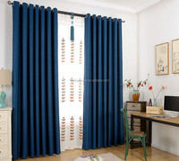 navy blackout curtain fabric like linen fabric living room curtain