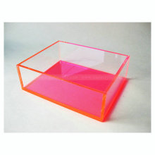 Clear Neon Pink Acrylic Display Box, Lucite Cosmetics Shadow Organizing Craft Box