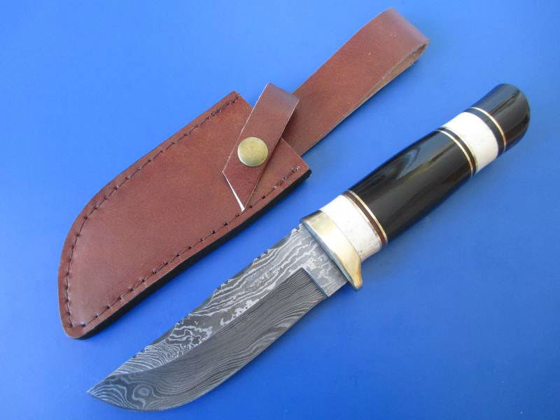damascus knife with special wood ,real camel bone & buffalo horn