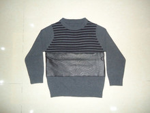 crewneck stripe hand knitting leather baby kids cashmere sweater