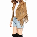 2016 Fall&Summer New Designs Turn-down Collar Tassel Jacket Patchwork Short For Women&Lady Model