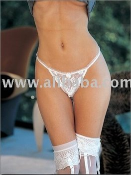 Scalloped Embroidery Crothless Thong Panty