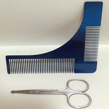 Stainless Steel Beard Shaping Tool And Eyebrow Shaping Scissors Makeup Scissors Set Beard Comb for Men's Shaving