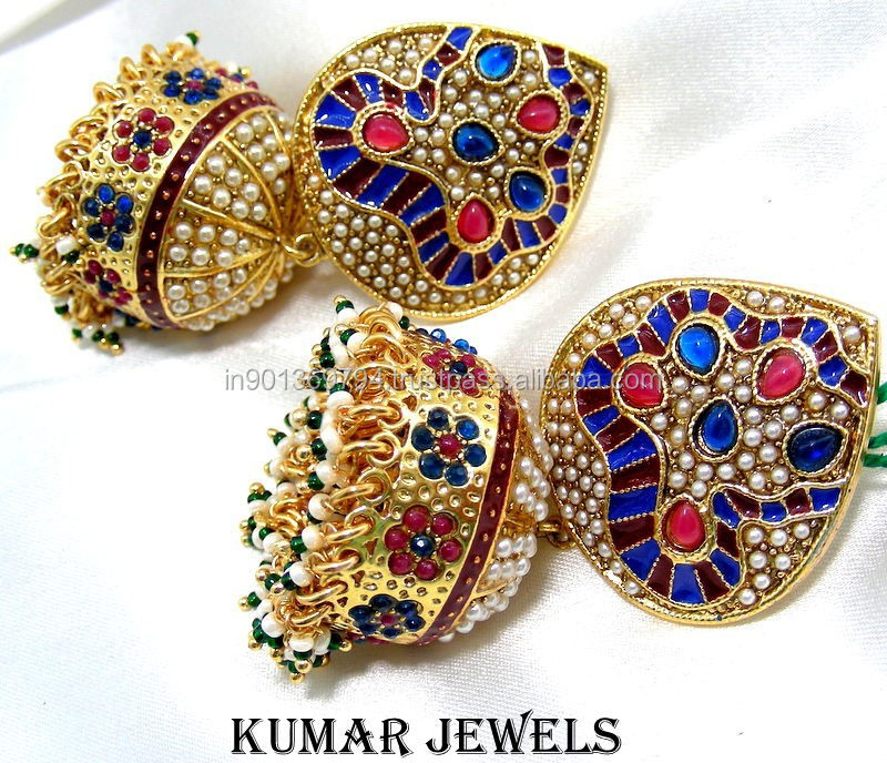 Big Traditional Polki Jhumka Earrings
