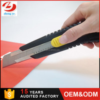heavy duty 25mm utility knife, cutter,single blade,plastic handle industrial safety utility knife tool