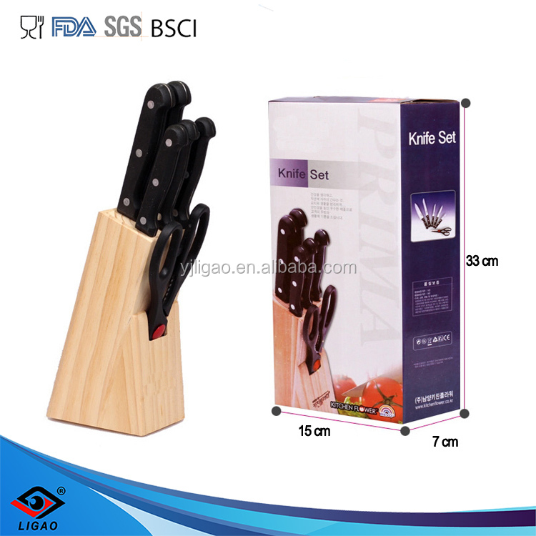 7pcs knife set including wood knife block
