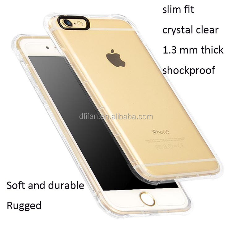 Transparent Clear Soft TPU Anti-shock Mobile Shell Case Cover for Apple phone 6 protective case for iphone 6s