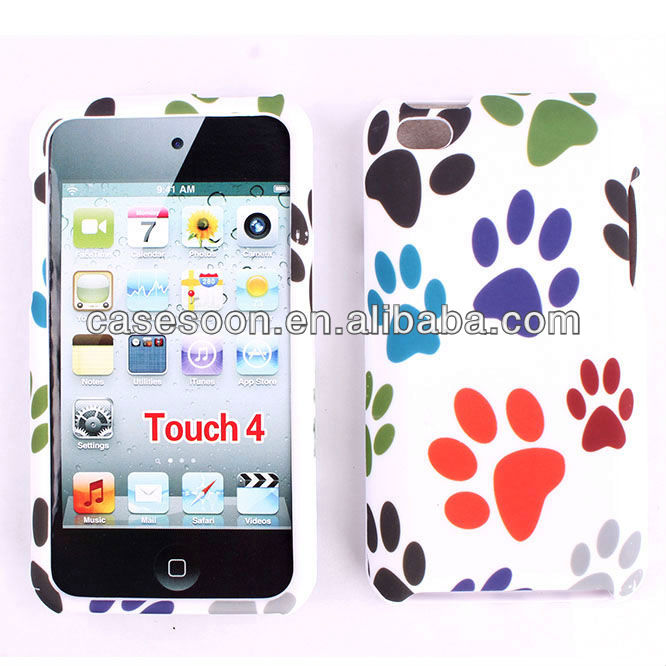 Decal Case for touch 4, Colors footprints Design Case For iPod touch 4