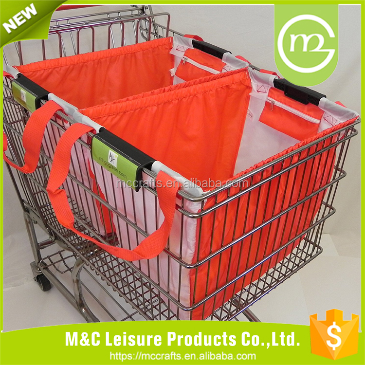 Foldable polyester vegetable shopping trolley bag