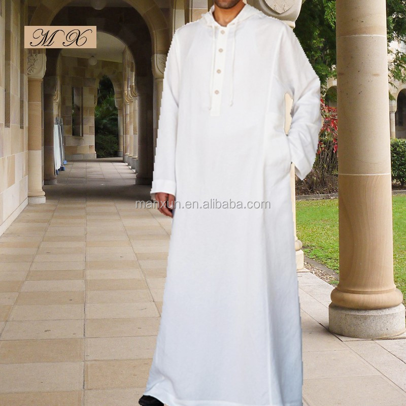 White hooded men clothes,saudi thobe for men