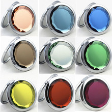 Fashion crystal metal round makeup mirror giveaways customized crystal metal compact mirror