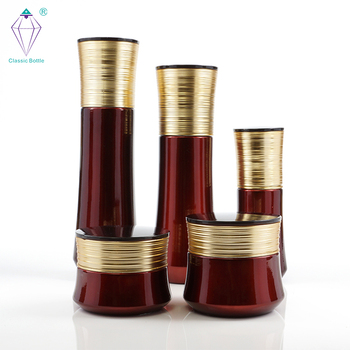 Wholesale cosmetic package glass bottles set and jars