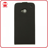 100% Mobile Phone Real Genuine Leather Flip Pouch Case Cover for HTC One M7