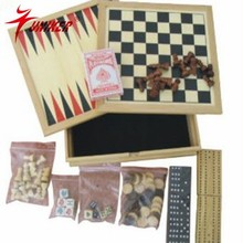 multiple board game set wooden box type 7 in 1 board game for fun