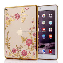 Hot selling luxury electroplate TPU edge and set with diamonds back cover case for Ipad mini 1\2\3\4