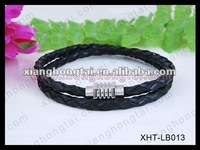 Stainless Steel Black And Darkbrown Plait Braided Leather Cord 6mm Magnetic Wristband Bracelets 8.5'