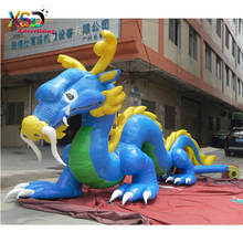 giant inflatable chinese dragon / lifelike inflatable blue dragon model with high quality