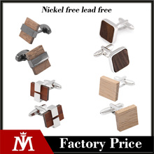 2017 Hot Sale Men's Accessories Jewelry Fashion Customized Wood Cufflinks for Men