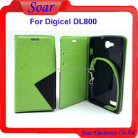 New arrival strong magnet wallet pouch leather case for Digicel DL800,with hand strip case for Digicel DL800