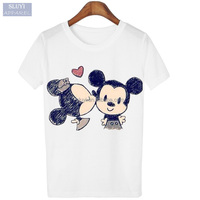 t shirt printing machine Summer Cloth Woman Tees Fashion Loose cute cartoon print Short Sleeve custom t-shirt printing
