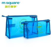Professional m square women's clear transparent pvc cosmetic bag with zipper
