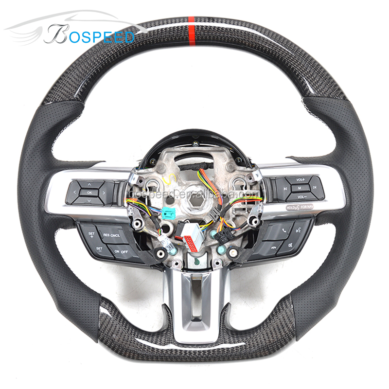 Black Perforated Leather Carbon Fiber Steering Wheel For FORD MUSTANG