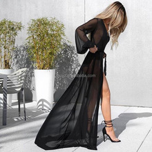 L2412A women Sexy Summer Beach European style long See Through Mesh cardigan dresses