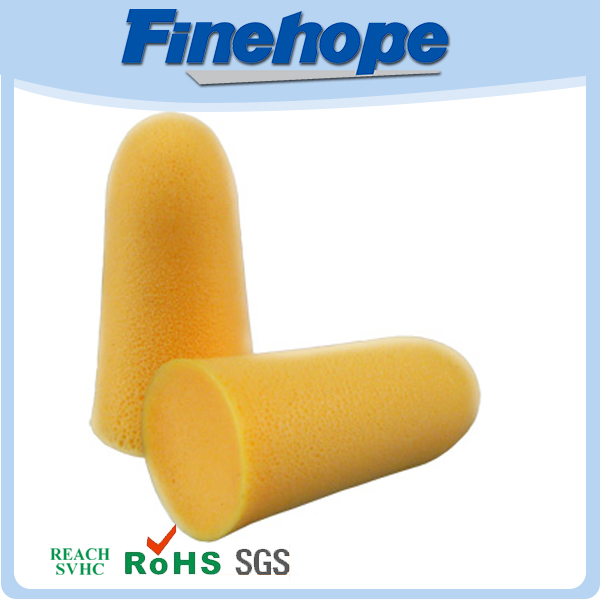 2014 hot sale noise reduction polyurethane yellow foam ear plugs