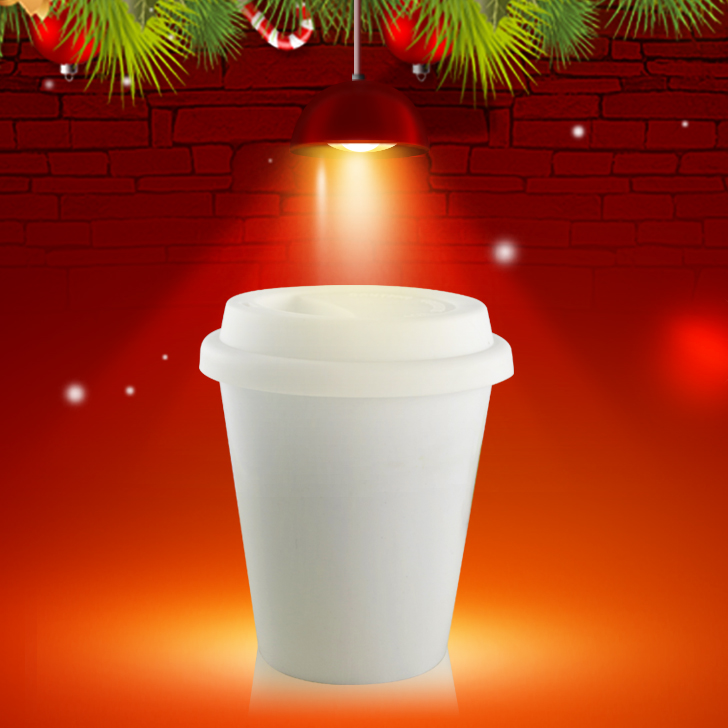 Christmas wholesale cheap Double wall ceramic tumblers, travel coffee mug with silicone lid