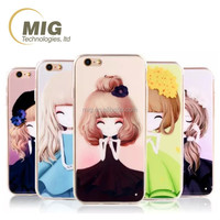 Sisters lovely girls cell/ mobile phone case cover for iphone 6 6s plus, colorful phone case 22 designs