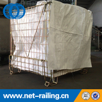 Foldable galvanized wire mesh container with bag