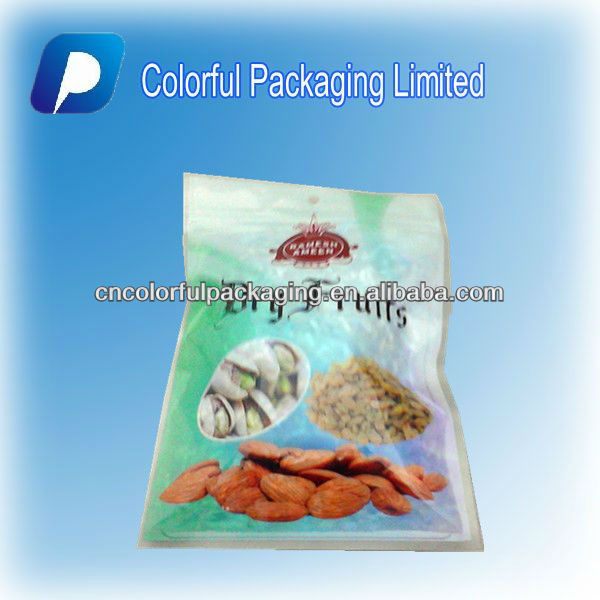 250g/Hot Sale/Transparent/ Laminated Material/Plastic/Zipper/Nuts/Dry fruits Bag/Pouch With Hang Hole&Food Advertising Map
