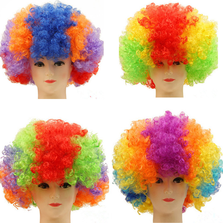 Synthetic football fan cheap afro wig colors afro clown wigs for mischief