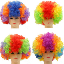 Synthetic football fan wig colors afro clown wigs for mischief