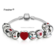 Wholesale factory direct sales silver plated 10 beads charm emoji smile face bracelet factory low price good quality
