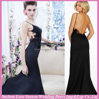HB0047 evening dresses low-cut back backless appliqued bodice extreme sexy 2014 vestido de noche