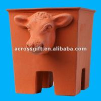 cow terracotta animal planters