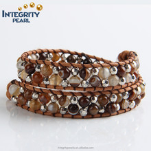 6mm natural brown striped agate beaded real make braided leather bracelet with beads