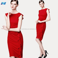 Stylish Lady Womens O-k Cap Sleeve Solid Ruffles Casual Party Dress