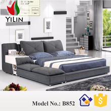 Modern good sleeping tata design fabric Platform bed for bed room B852