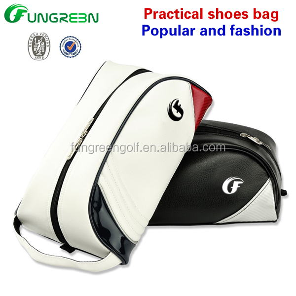 black /white PU golf Shoes bag with Custom logo from golf bag manufacturer