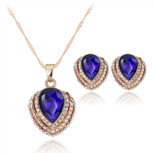 CA002 Fashion Crystal Earring And Necklace Set Zircon Blue Heart Wedding Jewelry Set For Women