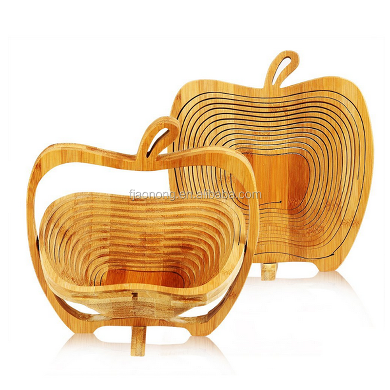 Best price superior quality Aonong Apple Shaped Bamboo wood Folding fruit Basket