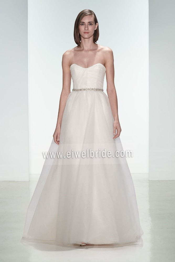 S589 Sweetheart Sash Sleeveless A-Line Floor-length Chiffon Gents Wedding Dresses