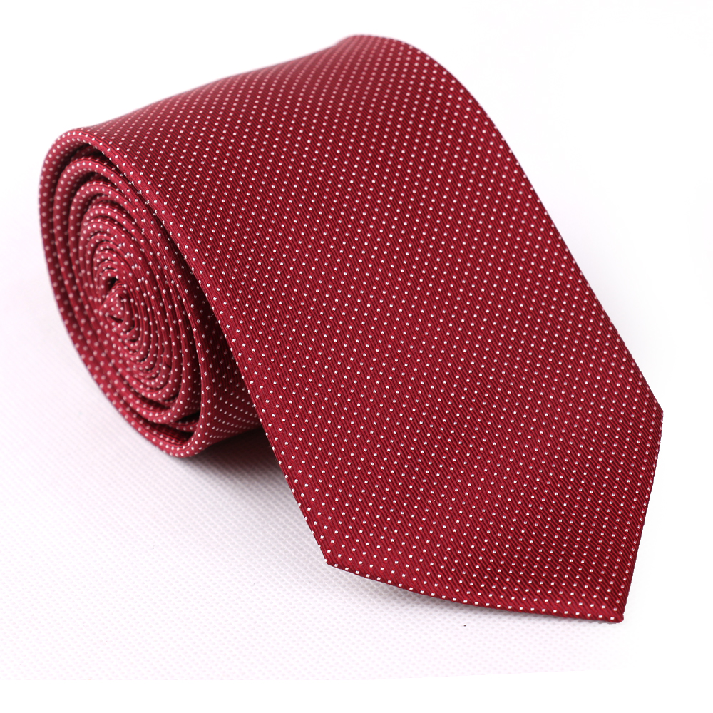 Burgundy color simple designed dotted tie for custom