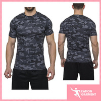 2017 Gym dri fit training t-shirts compression shorts sleeve t shirt